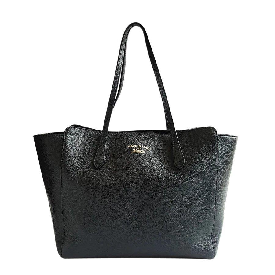 gucci古驰蝙蝠包女士黑色牛皮大号购物袋手提包354397