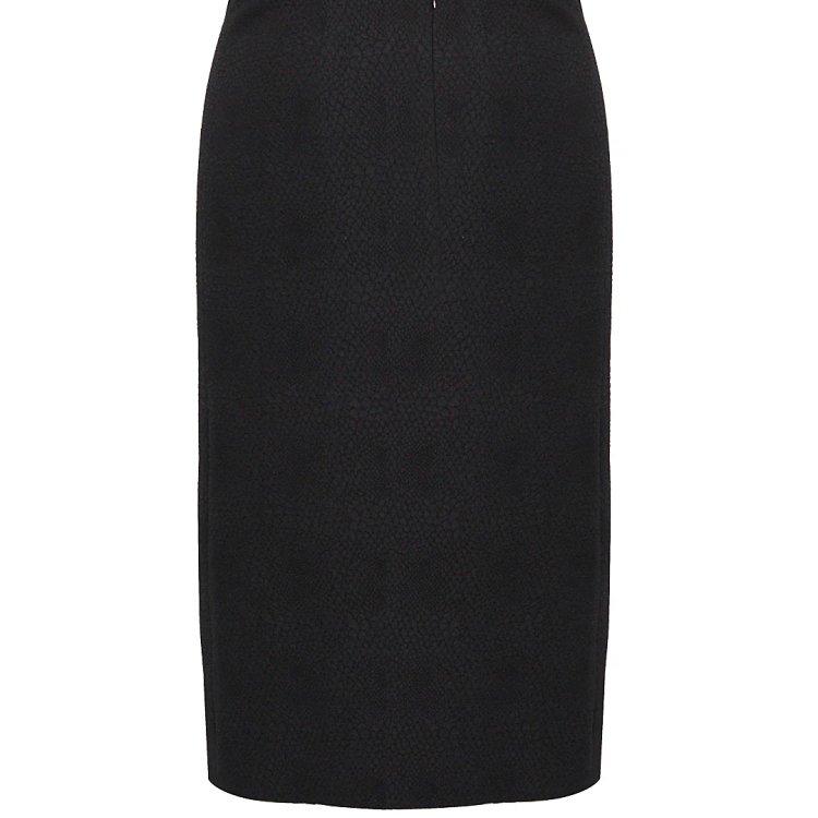 黑色蛇皮纹拼接白边半裙