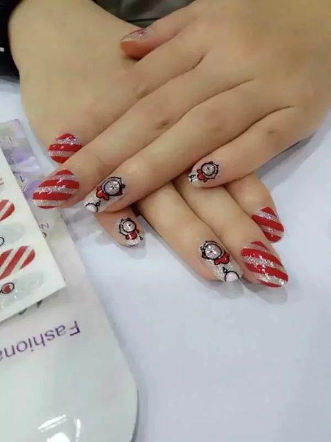 美甲贴纸 韩国 卡通黑白指甲贴纸环保防水全贴小孩