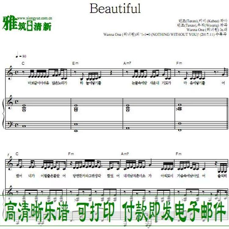 p17922 wanna one beautiful钢琴谱
