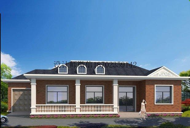 别墅设计图纸新农村自建房一层带车库回廊效果图施工水电齐全套1 y53