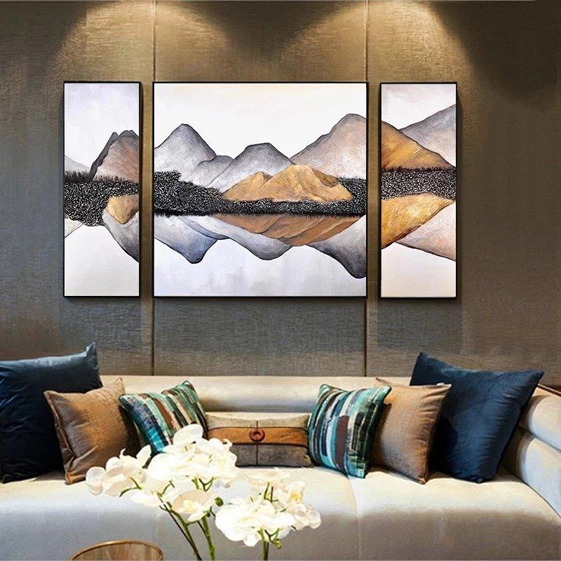 意境山水壁画沙发背景墙挂画样板房客厅风景装饰画手绘实物三联画