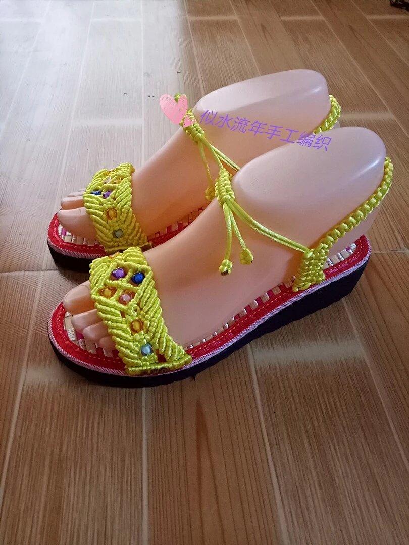 手工编织夏季女士凉鞋,波西米亚风,可定制