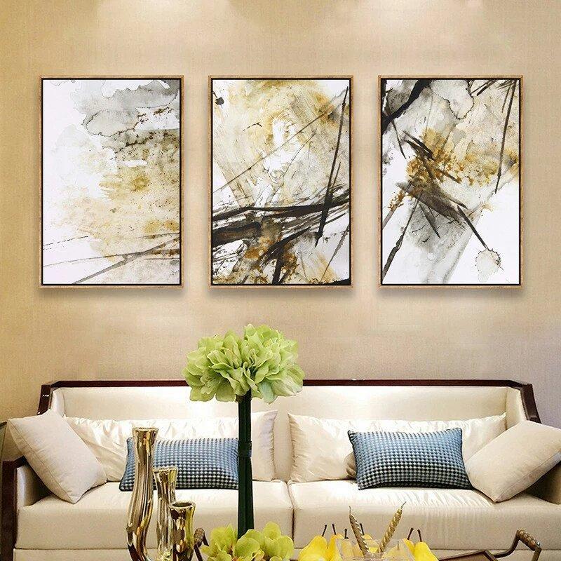美式抽象三聯裝飾畫室內客廳沙發背景墻客廳掛畫廠家