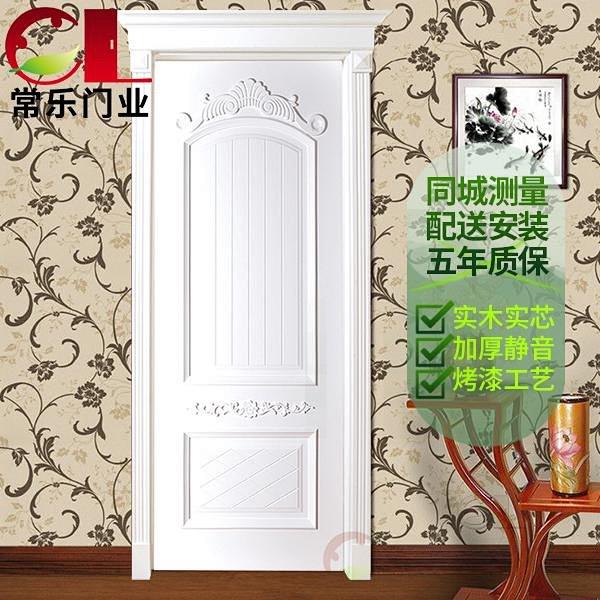 实木门带门帽头欧式雕花白色卧室单开别墅高档木质门