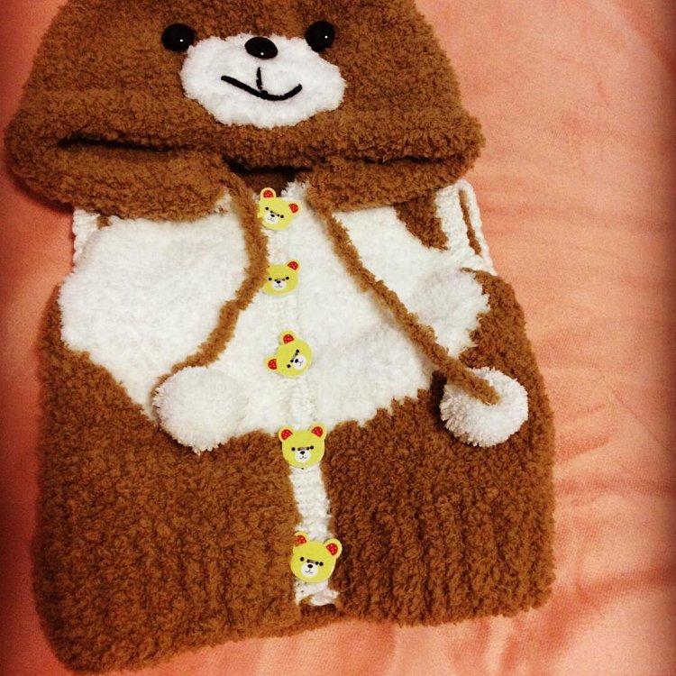 手工编织童装卡通毛衣,珊瑚绒雪尼尔毛线外套背心