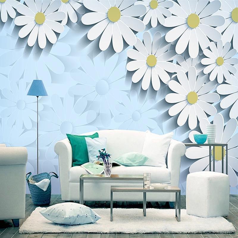 简约欧式卧室墙纸 温馨客厅电视背景墙壁纸 婚房大型壁画浪漫雏菊