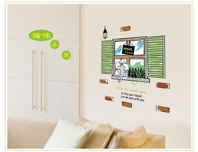假窗外风景墙贴情侣猫咪儿童房教室客厅卧室沙发电视墙贴纸 童趣