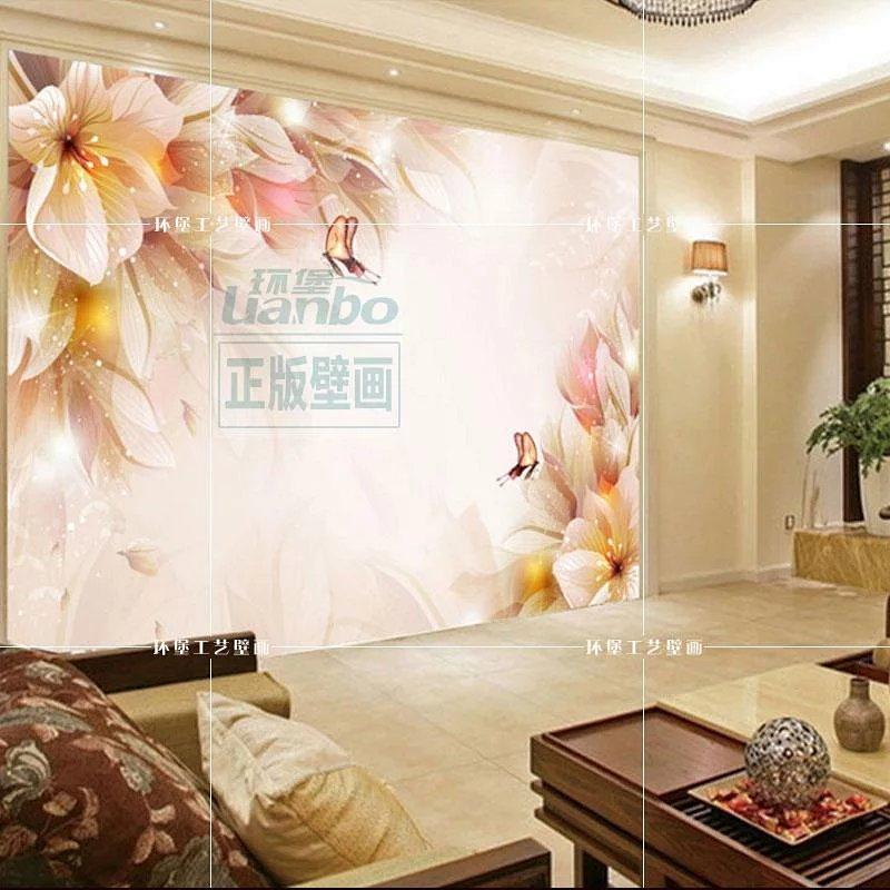 欧式浪漫墙布中式客厅沙发电视背景墙纸 婚纱摄影主题