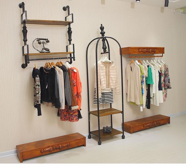 欧式高档组合铁艺复古仿实木色服装店衣架展示架包包架落地式展架