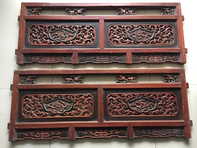 古玩收藏 精品老木雕 花草窗户花板一对 全品包老 完整无修补