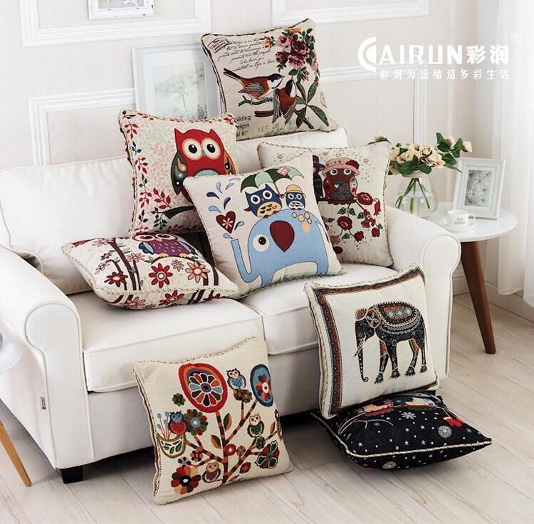 新款 厂家直销欧式双面动物图案刺绣沙发靠垫抱枕含芯