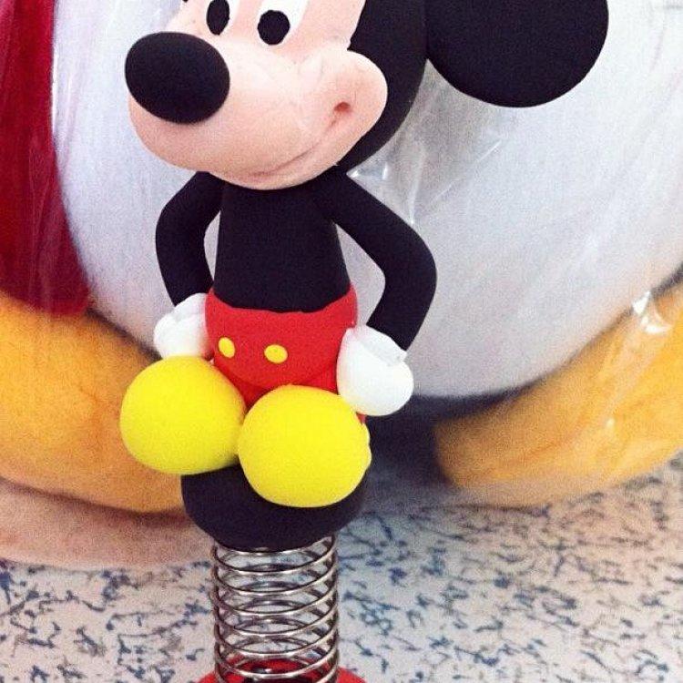 超轻粘土作品米老鼠带弹簧纯手工可定制小礼品
