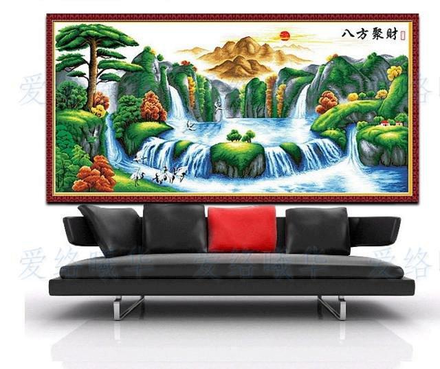 爱络正品 精准印花2米客厅风景大幅画迎客松系列十字绣 八方聚财
