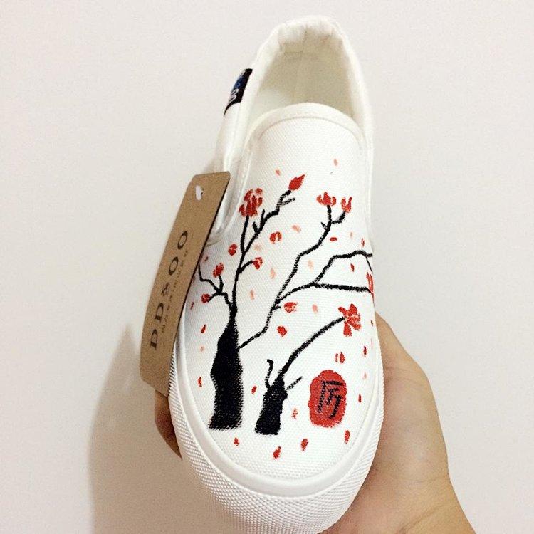 小清新手绘鞋,中国风创意手绘小白鞋,dd&oo小白鞋,原创手绘鞋包邮