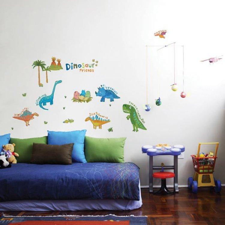 韩国进口墙贴纸 幼儿园教室男孩儿童房间看图识字学英语单词 恐龙