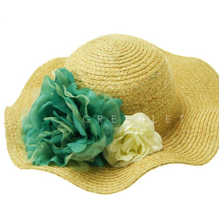 gnl大檐波浪侧花拉菲草帽(草本色)精细钩针,特殊抽拉工艺,造就了帽檐
