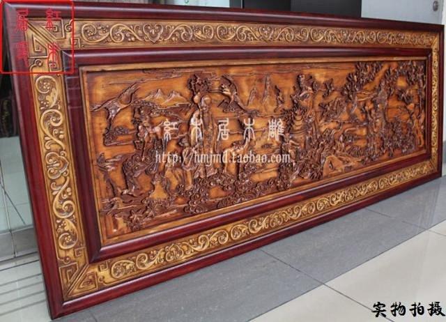 东阳木雕 挂件壁饰挂壁雕刻 浮雕画 牌匾客厅沙发电视