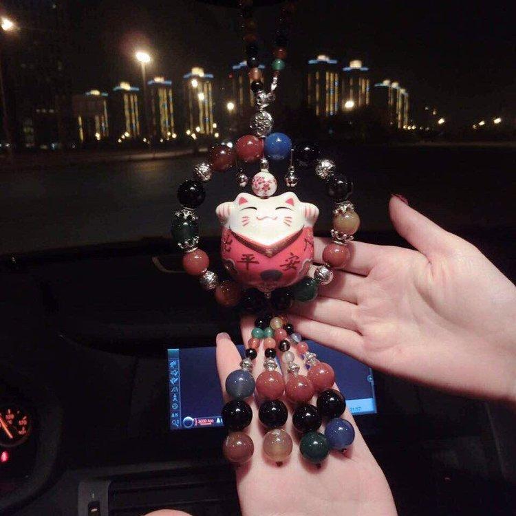 车内图新款梦幻玛瑙招财猫出入平安车挂 ,给各位高大上男士女士滴礼物