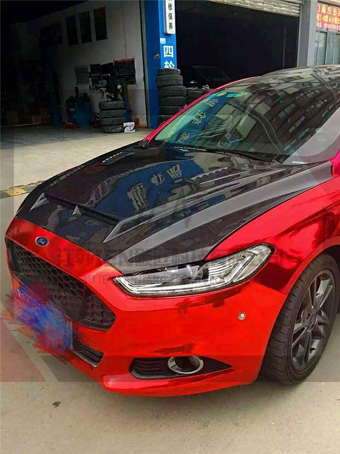 定制 福特新款蒙迪欧13-15款汽车改装纯碳纤维机盖引擎盖机盖