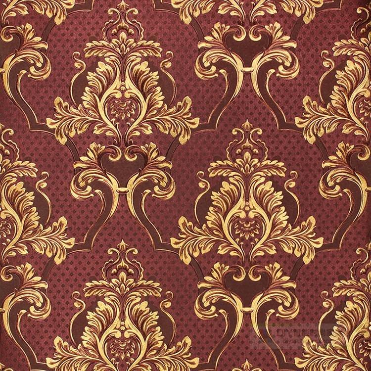 天丽 正品金箔墙纸壁纸 欧式客厅 酒店ktv 咖啡色大马士革 90610
