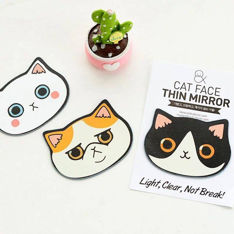 包邮鸿辉创意新款可爱猫咪头卡通小镜子便携随身化妆