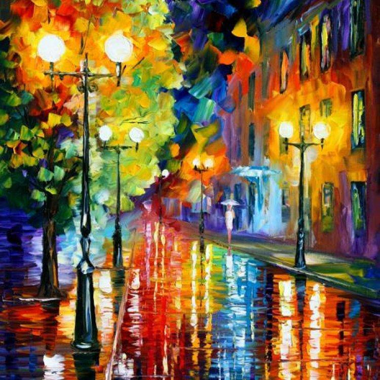 油画 都市夜雨景 城市风景画 艺术装饰画 壁画 欧美油画 包邮