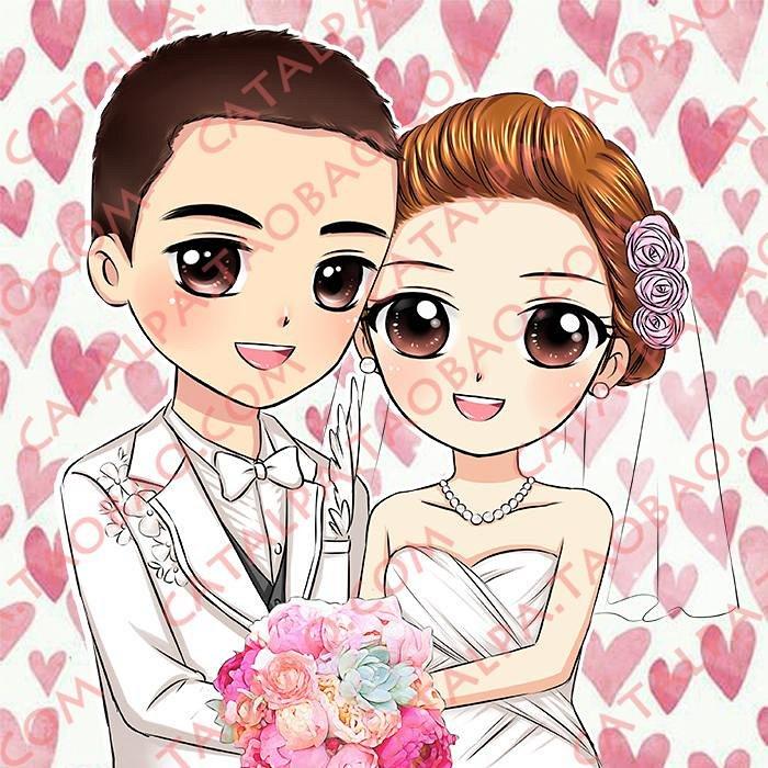 婚纱照设计真人照片转手绘卡通q版手绘漫画设计情人情侣纪念礼物