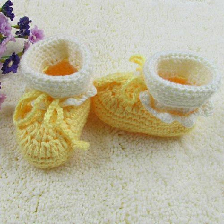 纯手工宝宝毛线鞋手工编织婴儿鞋新生儿鞋手钩针织男女宝宝软底鞋