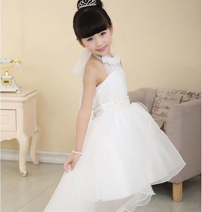 女童婚纱裙拖尾小孩花童礼服婚纱裙儿童公主裙拖地
