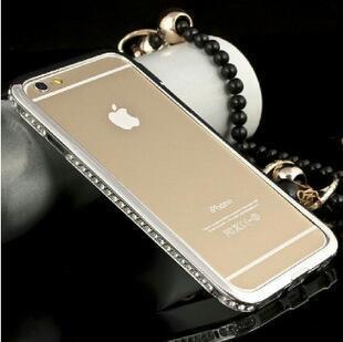 苹果iphone6镶钻铝合金属超薄边框苹果6手机壳水钻手机保护套外壳4.