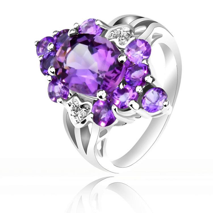 正品925纯银戒指 韩版潮人女 菱形紫水晶戒指指环