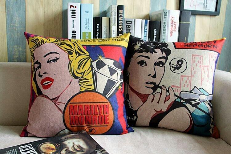 美式复古波普艺术 玛丽莲梦露 棉麻靠垫沙发抱枕套办公室车用靠枕