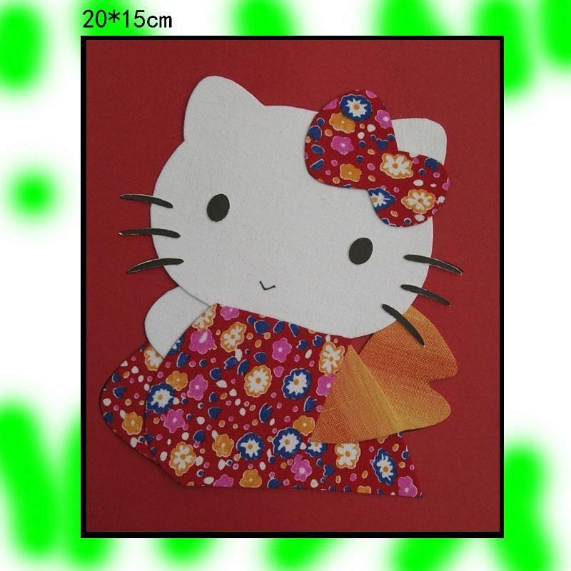 儿童学生布贴画布艺画卡通diy手工益智美劳材料包小规格小kt猫