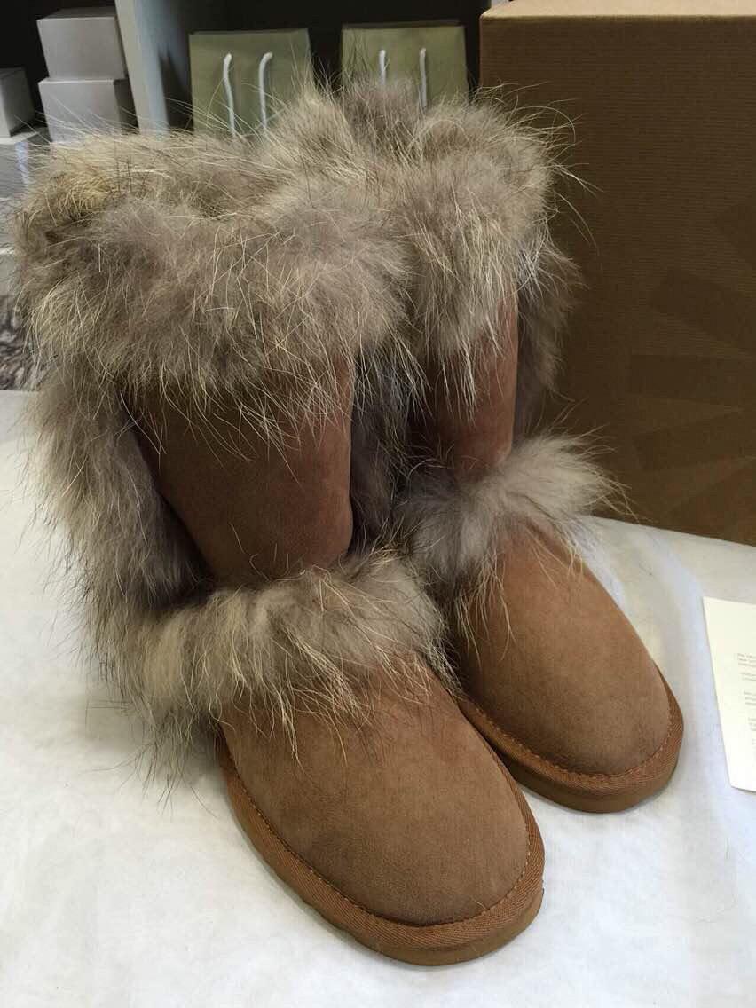 皮毛一体雪地靴男羊毛