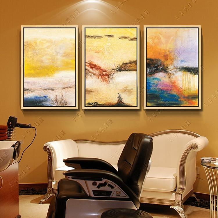 纯手绘抽象山水三拼装饰画油画高档客厅餐厅酒店挂画