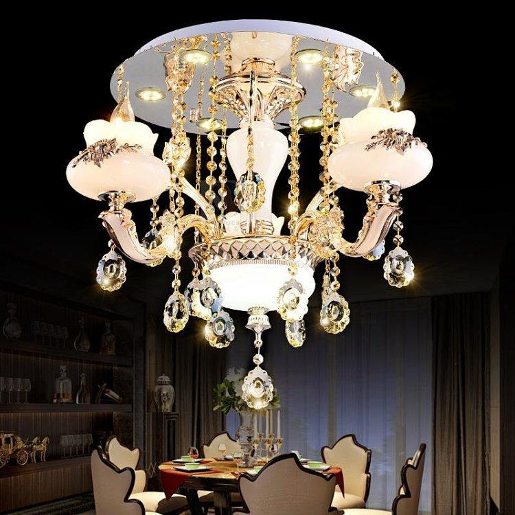 欧式k9水晶吸顶吊灯锌合金led仿玉石客厅卧室蜡烛灯餐厅1618-8 4
