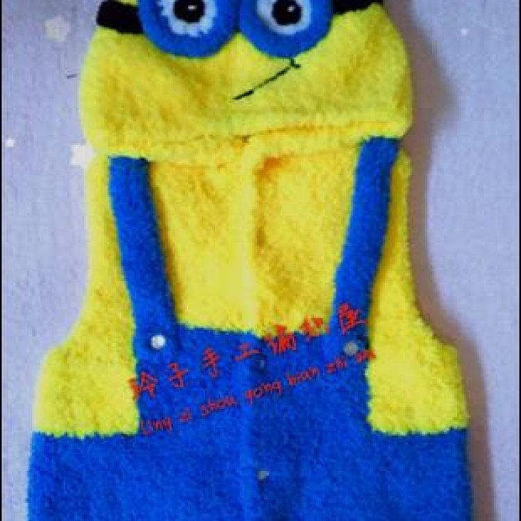 纯手工编织珊瑚绒天鹅绒宝宝马甲儿童开衫毛衣小黄人