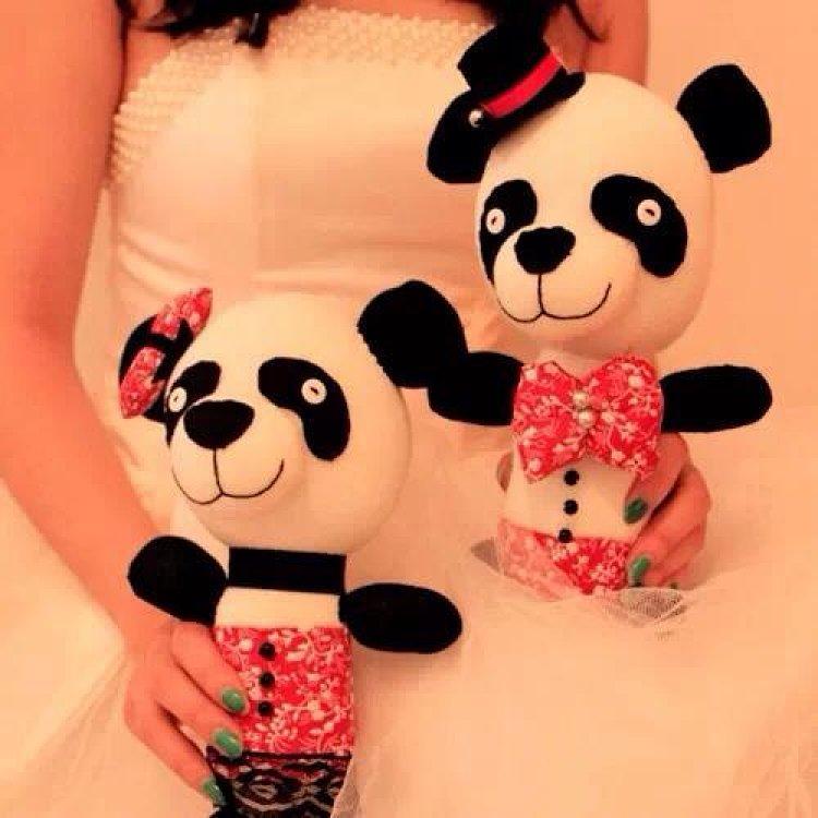 中国熊猫,结婚礼物,袜子娃娃材料包一对装