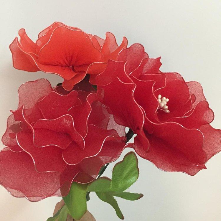 大红色牡丹花,纯手工制作