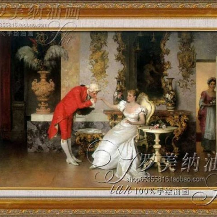 纯手绘手工油画欧式古典宫廷人物画客厅装饰画酒店有