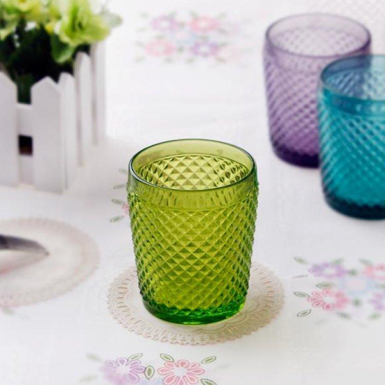【复古多彩】欧式雕花菠萝纹玻璃水杯果汁杯牛奶杯啤酒杯 zakka风格