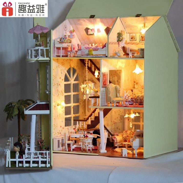 趣益雅diy小屋幸福家园手工拼装房子模型大型别墅生日