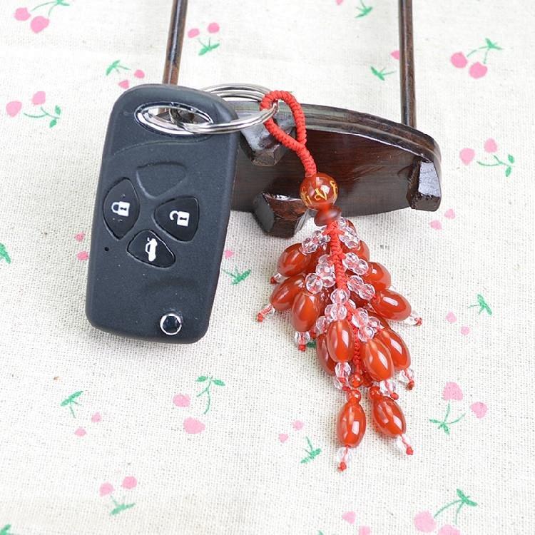 创意手工编织玛瑙汽车钥匙链女个性金刚结红绳钥匙扣