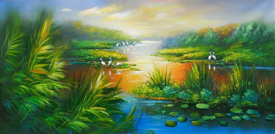 湿地风景画100%油画手工绘制,高档颜料,可保存百年,高档画布,自动防潮
