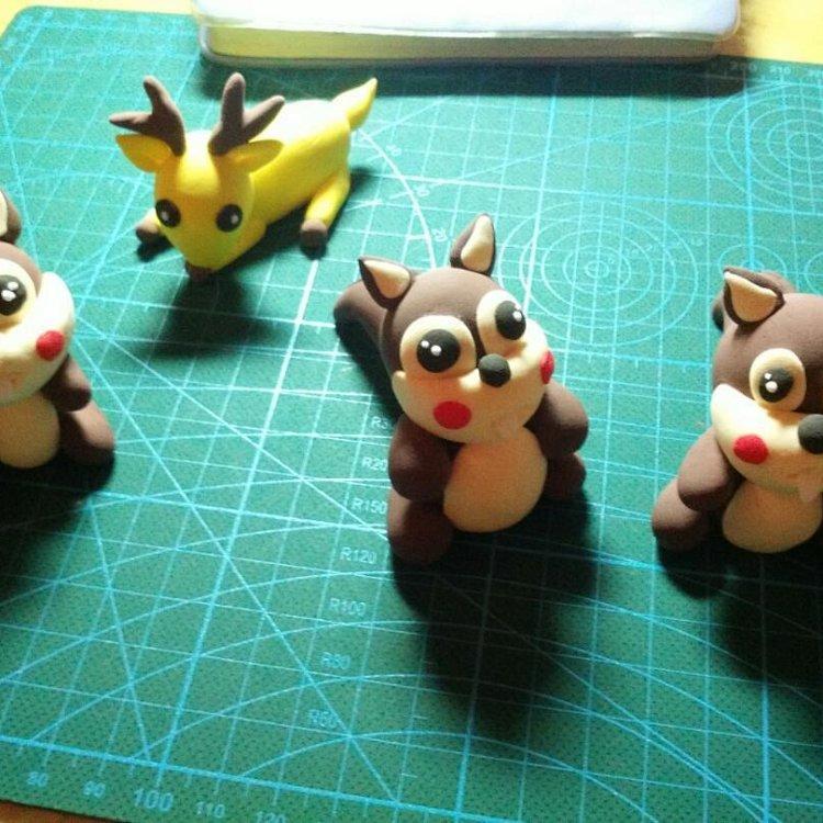 一笑唐国粹阁手工捏面人 轻粘土仿面人 可爱的小动物造型 可来图可