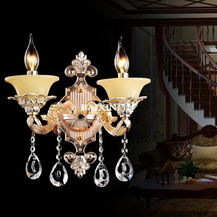 欧式玉石水晶吊灯k9 锌合金led蜡烛灯客厅灯高档餐厅