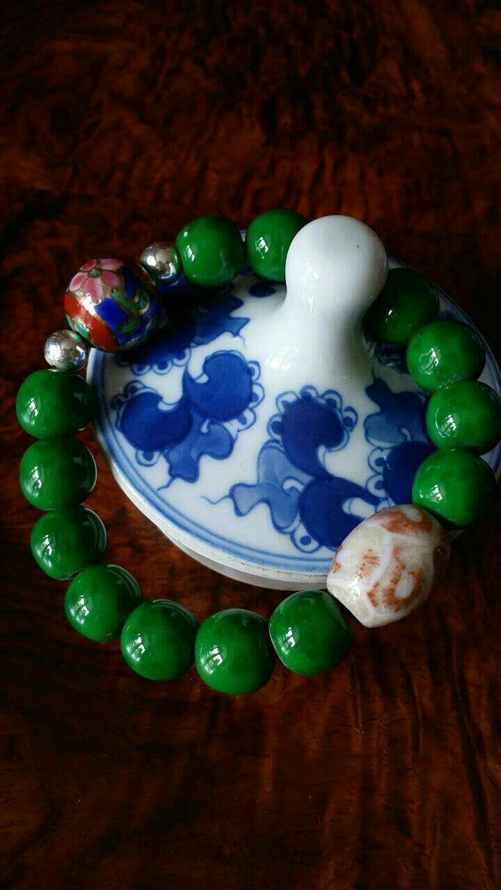 0琉璃珠配深海珊瑚玉+景泰蓝圆珠配925银珠,仅此一件,喜欢的看过来
