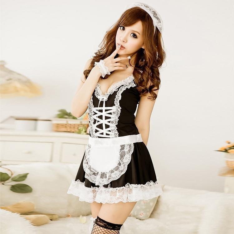 可爱美女黑白交叉女佣制服情趣内衣