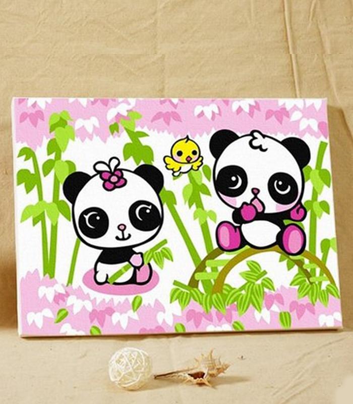 自油画 diy数字油画客厅小幅卡通人物纯手工手绘装饰画 小可爱